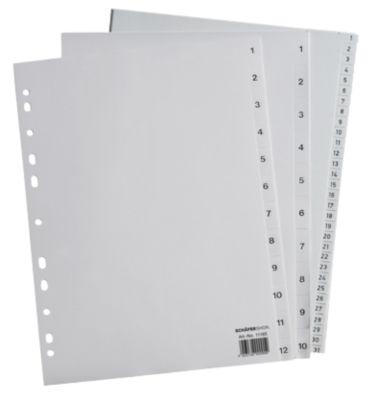 SCHÄFER SHOP Sparset Ordner-Register, Zahlen 1-12, jeweils 12 Sätze, grau