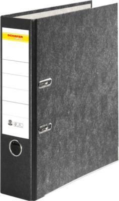SCHÄFER SHOP standaard ordner, A4, 80 mm, wolkenmarmer, zwart etiket, 1 stuk
