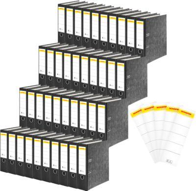 SCHÄFER SHOP Standardordner, DIN A4, 80 mm, mit Griffloch, schwarz, 40 Stück + GRATIS 40 Rückenschilder