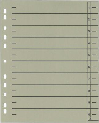 SCHÄFER SHOP Trennblätter mit Taben, DIN A4- Format, Linienaufdruck, 100 Stück, grau