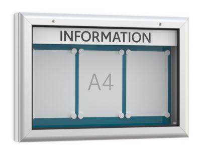 Schaukasten WSM, Querformat, B 800 x T 90 x H 545 mm, für Innen & Außen, abschließbar, Rückwand blau