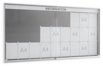 Schiebetür-Schaukasten, 60 mm tief, 9 x 3, alu-silberfarbig