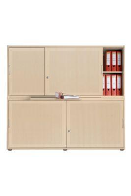 Schiebetürenschrank, Akustikfront, B 1600 mm, 4 OH, Ahorn-Dekor