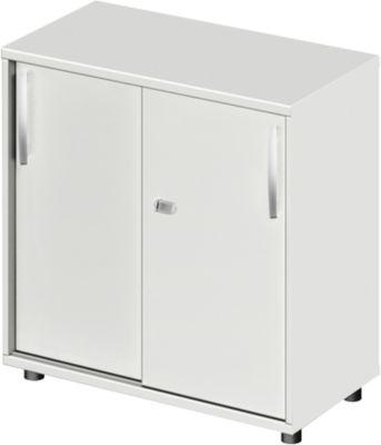 Schiebetürenschrank LOGIN, 2 Ordnerhöhen, B 800 x T 420 x H 744 mm, lichtgrau/lichtgrau