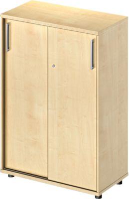 Schiebetürenschrank Proplana, 3 Ordnerhöhen, Breite 800 mm, Höhe 1160 mm, Ahorn-Dekor