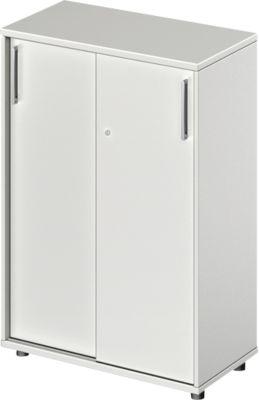 Schiebetürenschrank Proplana, 3 Ordnerhöhen, Breite 800 mm, Höhe 1160 mm, lichtgrau