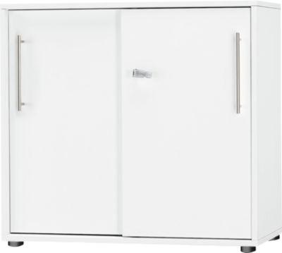 Schiebetürenschrank Start Up, 2 OH, abschließbar, B 800 x T 420 x H 744 mm, Holz, weiß/weiß