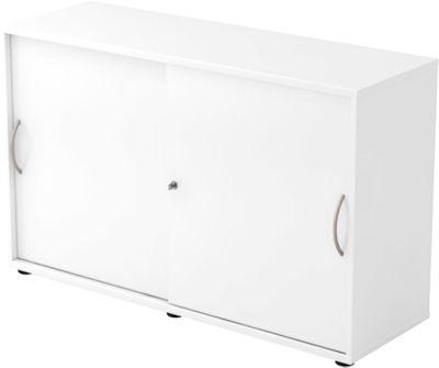 Schiebetürenschrank TARA, 2 Ordnerhöhen, B 1200 x T 400 x H 748 mm, abschließ- & stapelbar, weiß
