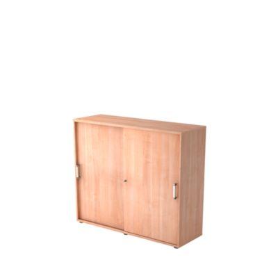 Schiebetürenschrank TARVIS, 3 Ordnerhöhen, B 1200 x T 400 x H 1100 mm, abschließ- & stapelbar, Nussbaum-Dekor