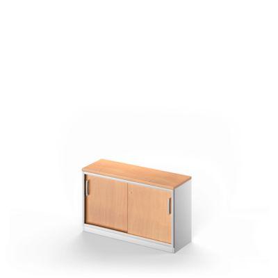 Schiebetürenschrank TETRIS SOLID, 1,5 OH, B 1000 mm, Ablagefach, 25 mm Abdeckplatte, Buche-Dekor/weißalu