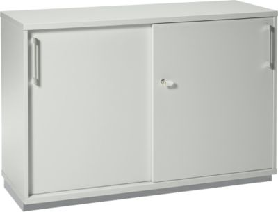 Schiebetürenschrank TETRIS WOOD, 2 OH, inkl. Stahlsockel,  B 1200 x T 421 x H 800 mm, lichtgrau
