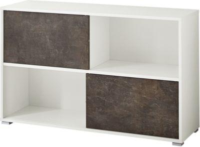 Schiebetürregal ALTINO, 4 Fächer, 2 Schiebetüren, B 1200 x T 360 x H 740 mm, basalto dunkelbraun/weiß