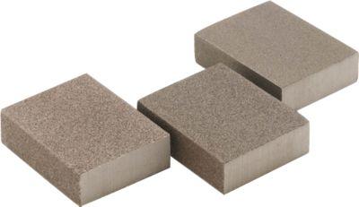Schleifschwamm-Set, L 100 x B 70 x H 25 mm, 3 Stück, je 1 x hart, mittelhart bzw. sanft, grau