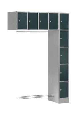 Schließfach-Garderobe SE5, Anbaueinheit, hellsilber/anthrazit