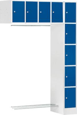 Schließfach-Garderobe SE5, Anbaueinheit, lichtgrau/enzianblau