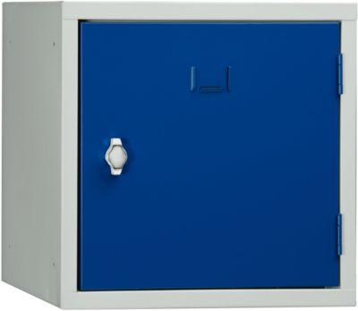 Schließfach Würfel, Türanschlag rechts, Drehriegelverschluss, erweiterbar, Stahl, Tür enzianblau RAL 5010