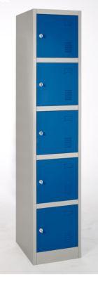 Schließfachsäule, 5 Fächer, hellsilber/enzianblau RAL 5010