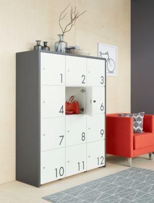 Schließfachschrank, B 1250 x T 430 x H 1548 mm, 12 abschließbare Fächer mit Zahlen, weiß/basaltgrau