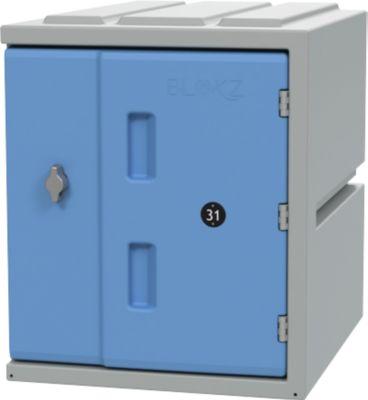 Schließfachschrank BLOXZ-450, Kunststoff, Drehriegelverschluss, B 385 x T 470 x H 450 mm, 1 Fach, blau