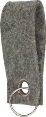 Schlüsselanhänger, aus Filz, Werbeanbringung einfarbig möglich, L 90 x B 35 mm, grau