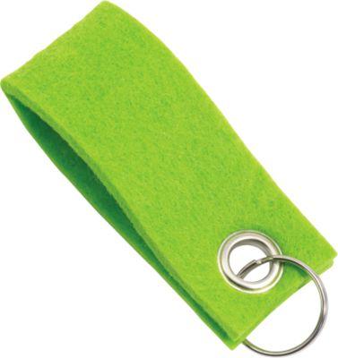 Schlüsselanhänger, aus Filz, Werbeanbringung einfarbig möglich, L 90 x B 35 mm, grün