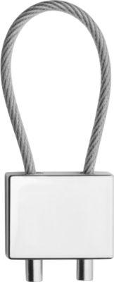 Schlüsselanhänger Reflects-Cable, aus Metall, Kabelschlaufe zur Schlüssel-Befestigung, mattsilber