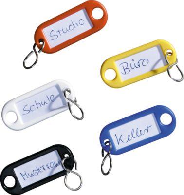 Schlüsselanhänger und Kennringe, 16 farbsortierte Teile, Kunststoff