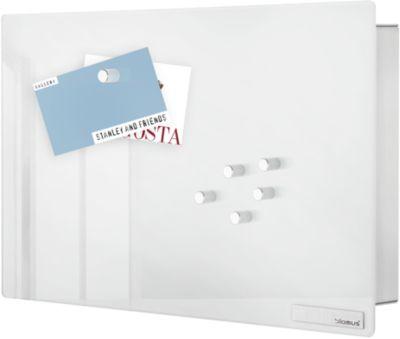 Schlüsselkasten VELIO, mit Glasmagnettafel, Edelstahl/Glas, weiß, B 300 x T 50 x H 200 mm