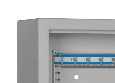 Schlüsselschrank SLE 80, für die Wandmontage, 80 Haken, ohne Einwurfschlitz, Türanschlag rechts, Elektronikschloss mit Batterien, inkl. Verankerungsmaterial, B 460 x T 130 x H 430 mm, Stahlblech, lichtgrau RAL 7035