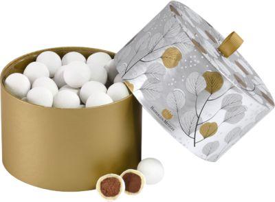 Schneeball-Traum, Schoko-Trüffelfüllung m. weißer Schokolade u. Zuckerdecke, 300 g, in Schmuckdose