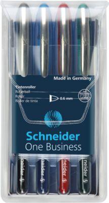 Schneider Tintenroller One Business, farbsortiert im 4er Etui