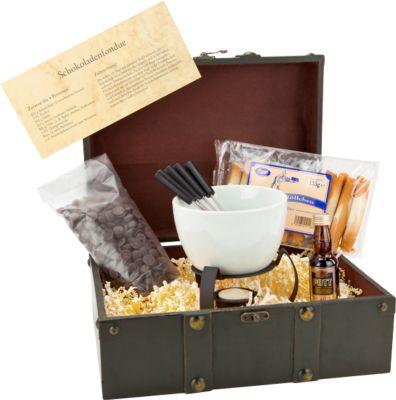 Schokoladenfondue, inkl. Schale mit Stövchen u. Teelicht + 4 Gabeln + Rezept + Schatztruhe