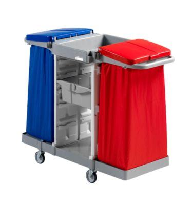 Schoonmaakwagen afvalverzamelaar duo, incl. 2 trays en 2 houders voor vuilniszakken