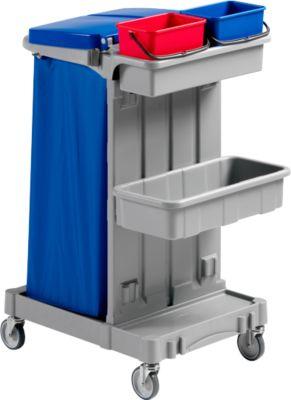 Schoonmaakwagen Poly I, emmer 2 x 4 l, 2 trays, met houder voor vuilniszak