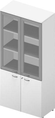 Schrank ARLON OFFICE, 5 Ordnerhöhen, 2 Glastüren m. Rahmen, 2 Melamintüren, H 2000 mm, weiß/weiß