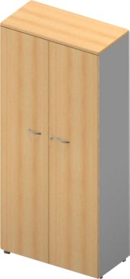 Schrank ARLON OFFICE, 5 Ordnerhöhen, abschließbar, B 900 x T 450 x H 2000 mm, Buche-Dekor/alu