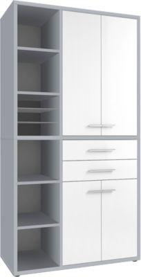 Schrank-Kombination Player, 6 Regalfächer, 2 Schubladen, B 1173 mm, platingrau/weißglas