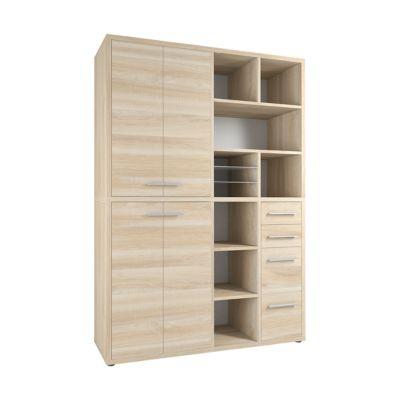 Schrank-Kombination Player, 8 Regalfächer, 4 Schubladen, B 1557 mm, Eiche