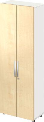 Schrank LOGIN, 6 Ordnerhöhen, B 800 x T 420 x H 2196 mm, weiß/Ahorn Dekor