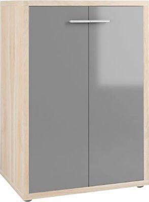 Schrank Player, 3 Ordnerhöhen, 2 Türen, Breite 789 mm, Eiche/grauglas