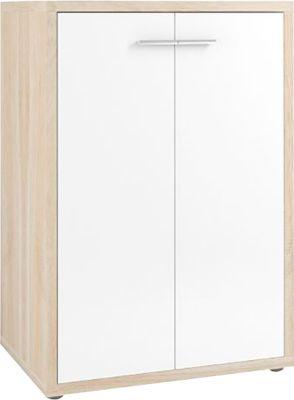 Schrank Player, 3 Ordnerhöhen, 2 Türen, Breite 789 mm, Eiche/weißglas