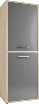 Schrank Player, 6 Ordnerhöhen, 4 Türen, Breite 789 mm, Eiche/grauglas