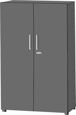 Schrank SET UP, 4 OH, abschließbar, B 800 x T 420 x H 1470 mm, graphit/graphit