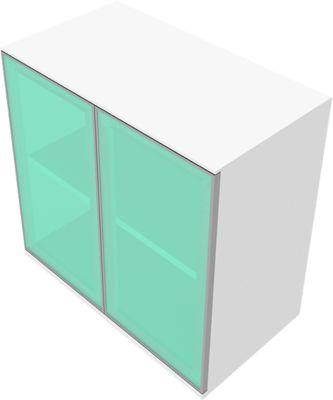 Schrank SOLUS, Glastüren, satiniert, 2 OH, H 760 x B 800 x T 440 mm, weiß