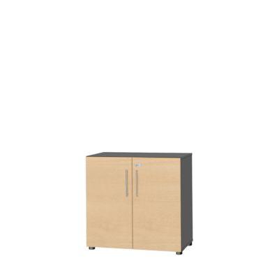 Schrank Start Up, 2 OH, abschließbar, B 800 x T 420 x H 744 mm, Holz, graphit/ahorn