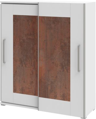 Schrank TEQSTYLE, 3 OH, B 1600 mm, 2-türig mit Rahmenfront, 3 Fächer in OH, 1 Fach in CD-Höhe, Oxido/weiß