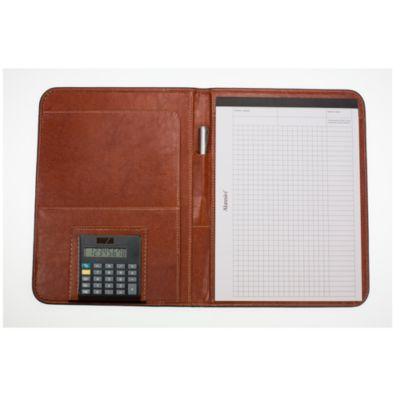 Schreibmappe Manarola A4, braun, hochwertiges Lederimitat mit Klarsichtfach
