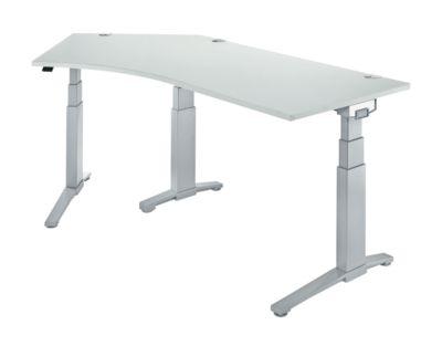 Schreibtisch 135° PLANOVA ergoSTYLE, Ansatz links, höhenverstellbar, B 2165 mm, li.gr./w.alu