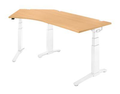 Schreibtisch 135° PLANOVA ergoSTYLE, Ansatz links, zweist. elektr. höhenverstellbar, B 2165 mm, Buche/weiß