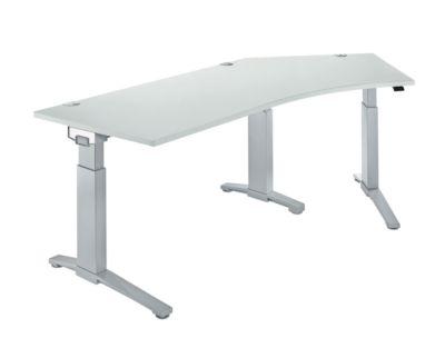 Schreibtisch 135° PLANOVA ERGOSTYLE, Ansatz rechts, 1-stufig elektrisch h.verstellbar, B 2165 mm, l.grau/w.alu